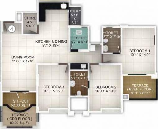 Pethkar Samrajya (3BHK+3T (1,451 sq ft) Apartment 1451 sq ft)