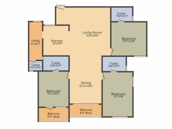 Bhoomija Banyan Tree (3BHK+3T (2,100 sq ft) Apartment 2100 sq ft)