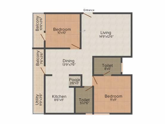 Lakvin Lakvin Valley Residency (2BHK+2T (1,100 sq ft) Apartment 1100 sq ft)