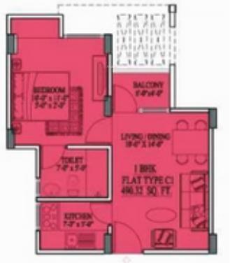 Unique Aravali (1BHK+1T (490 sq ft) Apartment 490 sq ft)