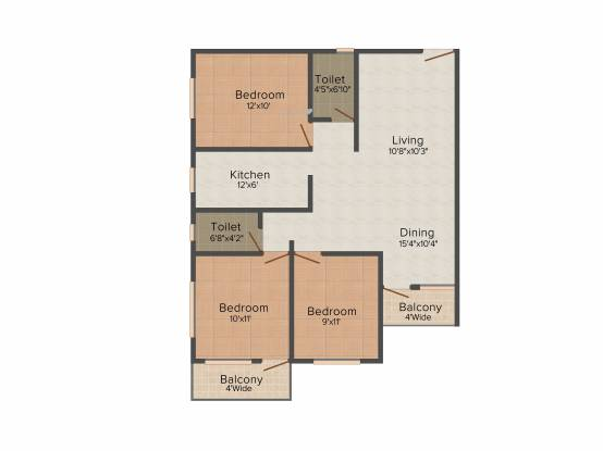 Bhawani Dreams (3BHK+2T (1,288 sq ft) Apartment 1288 sq ft)