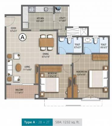 Purva Palm Beach (2BHK+2T (1,232 sq ft) Apartment 1232 sq ft)