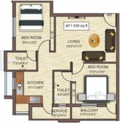 Identity SBR Avanti (2BHK+2T (936 sq ft) Apartment 936 sq ft)