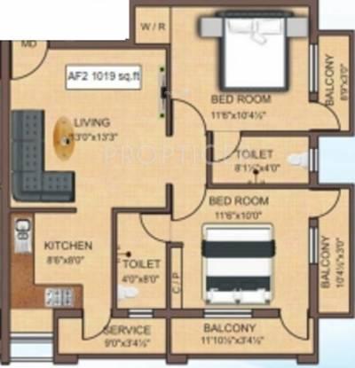 Identity SBR Avanti (2BHK+2T (1,019 sq ft) Apartment 1019 sq ft)