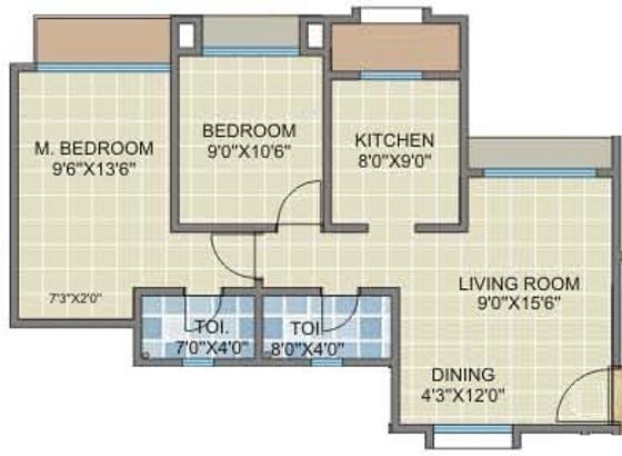 Chheda Rameshwar Towers (2BHK+2T (940 sq ft) Apartment 940 sq ft)