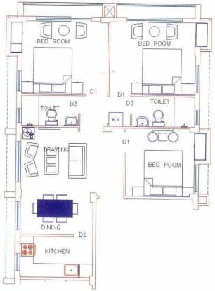 RMS Nihalani Comfort (3BHK+2T (1,330 sq ft) Apartment 1330 sq ft)