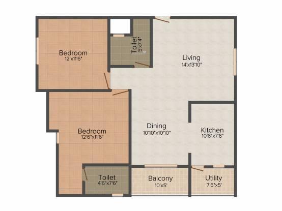 Malibu Belezza (2BHK+2T (1,210 sq ft) Apartment 1210 sq ft)