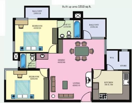 Galaxy Ellyzium Court (2BHK+2T (1,310 sq ft) Apartment 1310 sq ft)