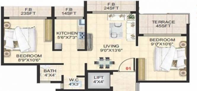 SM Riddhi (2BHK+1T (800 sq ft) Apartment 800 sq ft)