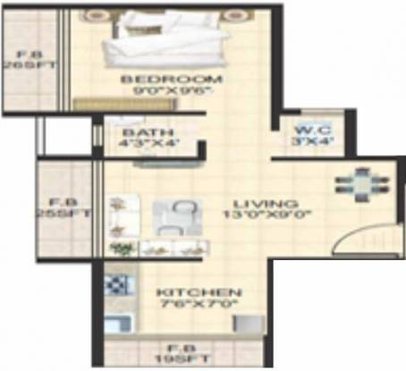 SM Siddhi (1BHK+1T (570 sq ft) Apartment 570 sq ft)