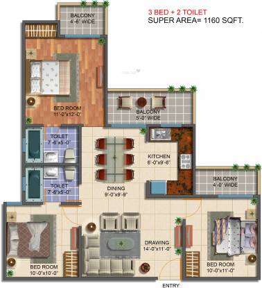 Saviour Green Arch (3BHK+2T (1,160 sq ft) Apartment 1160 sq ft)
