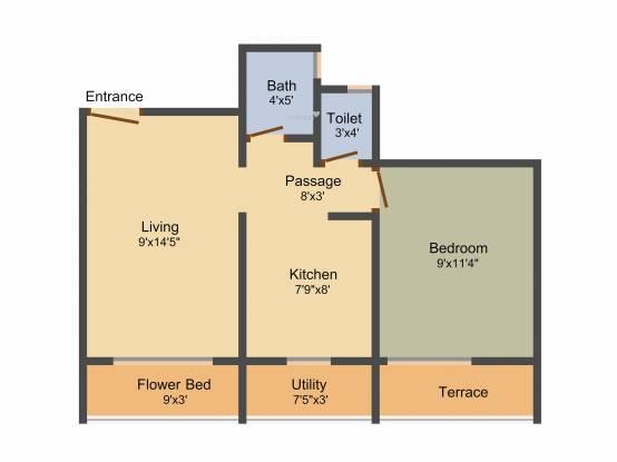 Hubtown Iris (1BHK+1T (685 sq ft) Apartment 685 sq ft)
