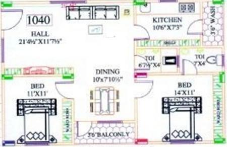 Suphala Arcade (2BHK+2T (1,055 sq ft) Apartment 1055 sq ft)