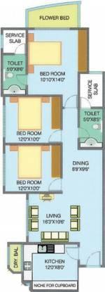 Nahar Yarrow Yucca Vinca (3BHK+2T (1,444 sq ft) Apartment 1444 sq ft)
