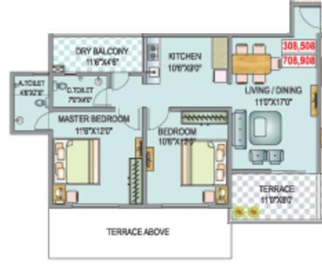 SSK Ambrosia (2BHK+2T (955 sq ft) Apartment 955 sq ft)