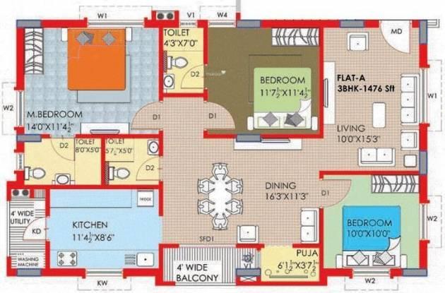 Riddhi Nest (3BHK+3T (1,476 sq ft) Apartment 1476 sq ft)