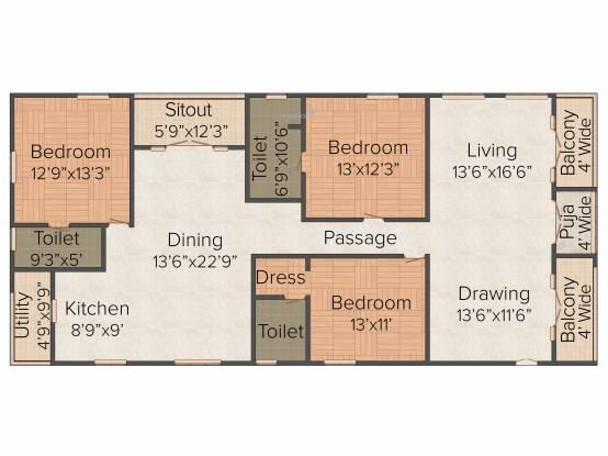 Lahari Park (3BHK+3T (2,425 sq ft)   Pooja Room Apartment 2425 sq ft)