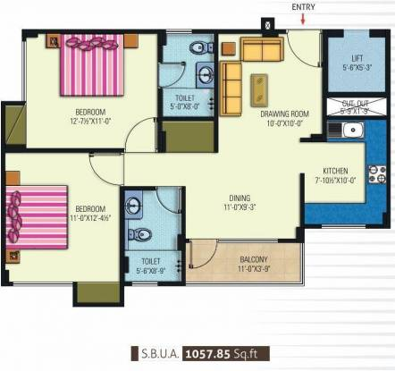 Manglam Kanak Residency (2BHK+2T (1,057 sq ft) Apartment 1057 sq ft)