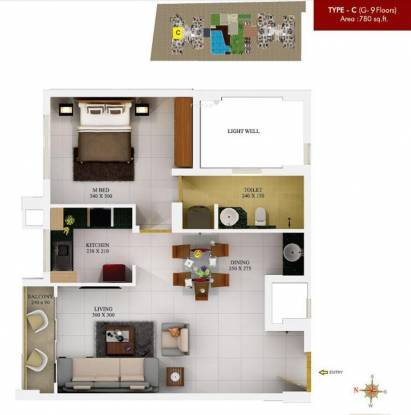 SFS Silicon Hills and Medows (1BHK+1T (780 sq ft) Apartment 780 sq ft)
