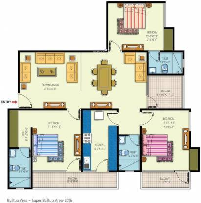 Manglam Arpan Residency (3BHK+3T (1,634 sq ft) Apartment 1634 sq ft)