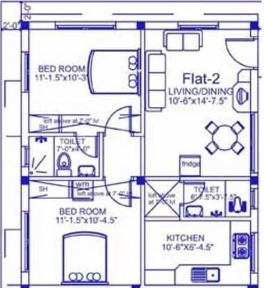 Palace Sai Kannan (2BHK+2T (974 sq ft) Apartment 974 sq ft)
