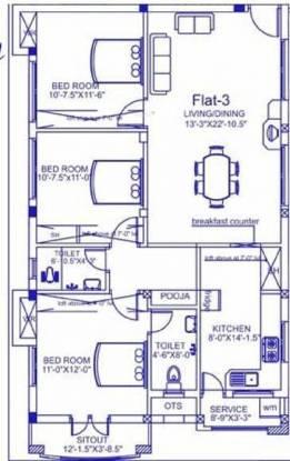 Palace Sai Kannan (3BHK+2T (1,323 sq ft) Apartment 1323 sq ft)