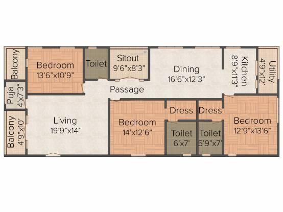 Lahari Park (3BHK+3T (2,190 sq ft)   Pooja Room Apartment 2190 sq ft)
