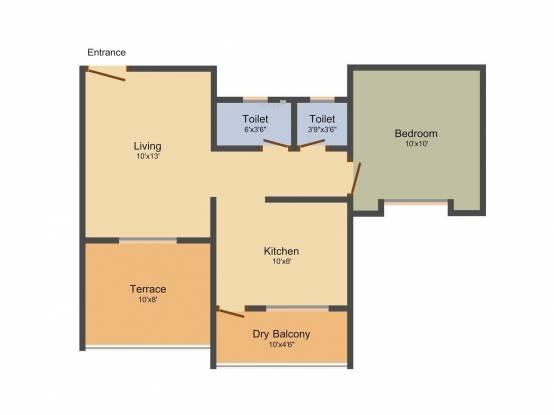 Maple Sai Krupa Residency (1BHK+1T (577 sq ft) Apartment 577 sq ft)