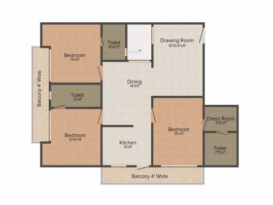 Nalanda Grand (3BHK+3T (1,700 sq ft) Apartment 1700 sq ft)