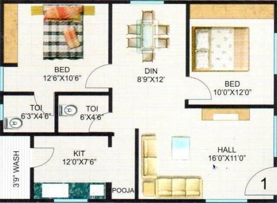 Hari Heights And Sri Nilayam (2BHK+2T (1,050 sq ft) Apartment 1050 sq ft)