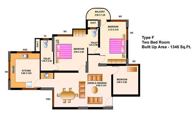 Heera Cyber View (2BHK+2T (1,345 sq ft) Apartment 1345 sq ft)