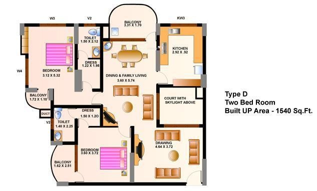 Heera Cyber View (2BHK+2T (1,540 sq ft) Apartment 1540 sq ft)