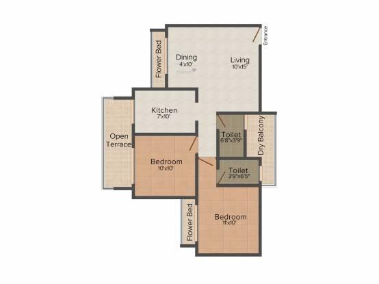 Reza Grandeur (2BHK+2T (1,095 sq ft) Apartment 1095 sq ft)