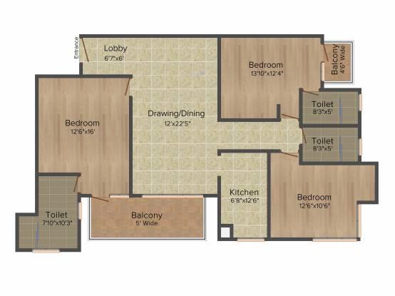 Omaxe Spa Village (3BHK+3T (1,600 sq ft) Apartment 1600 sq ft)