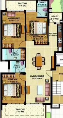 Omaxe Royal View Homes (3BHK+3T (1,580 sq ft) Apartment 1580 sq ft)