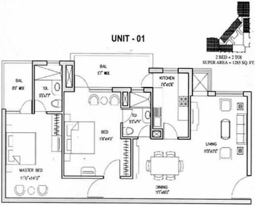 Aditya Gold Crest (2BHK+2T (1,285 sq ft) Apartment 1285 sq ft)