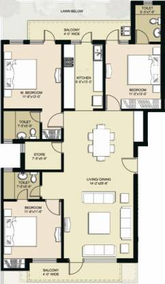 Omaxe Royal View Executive (3BHK+3T (1,705 sq ft) Apartment 1705 sq ft)