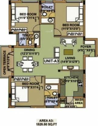 Adroit Aura One (3BHK+3T (1,526 sq ft) Apartment 1526 sq ft)