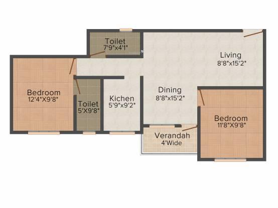 Aatreyee Utkarshini (2BHK+2T (946 sq ft) Apartment 946 sq ft)