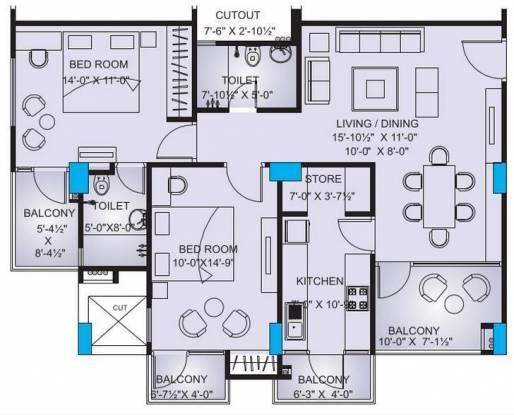 Platinum Rosewood Apartments (2BHK+2T (1,287 sq ft) Apartment 1287 sq ft)