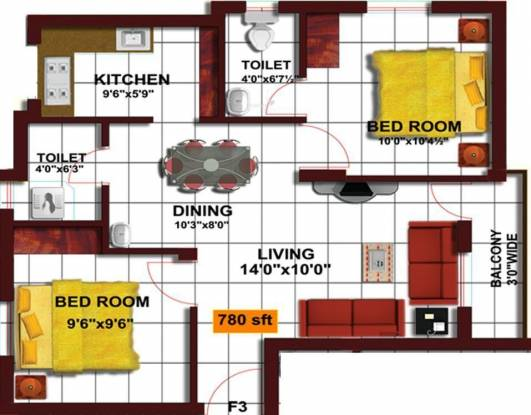 Grace Grande (2BHK+2T (780 sq ft) Apartment 780 sq ft)