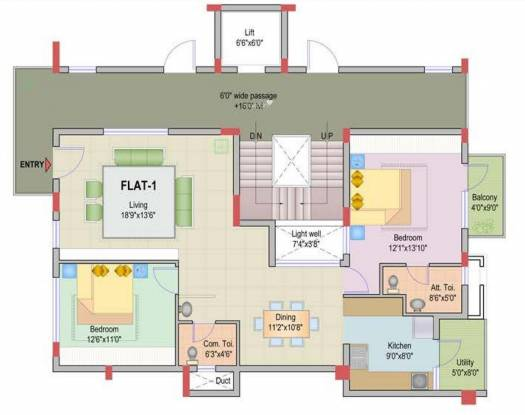 HSV JR Mansion (2BHK+2T (1,435 sq ft) Apartment 1435 sq ft)