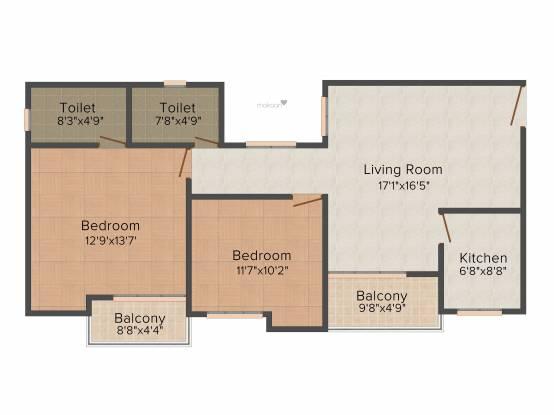 Astha Retreat (2BHK+2T (1,160 sq ft) Apartment 1160 sq ft)