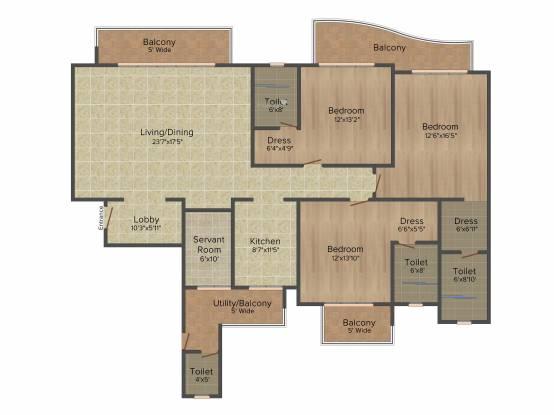 ATS Casa Espana Apartment (3BHK+3T (2,400 sq ft) Apartment 2400 sq ft)