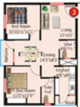 Hi Tech Hi Tech Plaza Annex (2BHK+2T (1,150 sq ft) Apartment 1150 sq ft)
