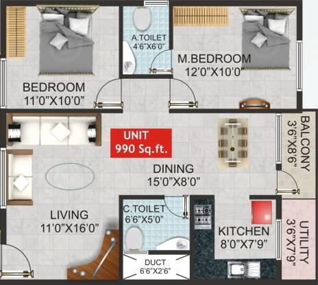 Shivaganga Opal (2BHK+2T (990 sq ft) Apartment 990 sq ft)