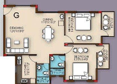 Z estates Highland Residency (2BHK+2T (1,420 sq ft) Apartment 1420 sq ft)