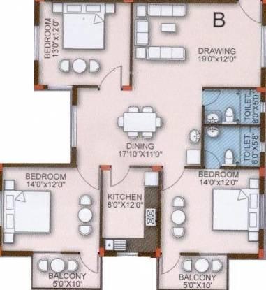 Z estates Highland Residency (3BHK+2T (1,655 sq ft) Apartment 1655 sq ft)