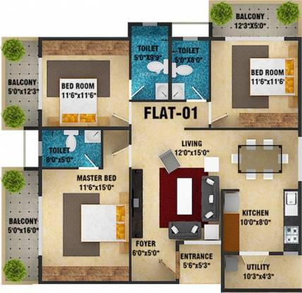 DS Skyscape (3BHK+3T (1,976 sq ft) Apartment 1976 sq ft)