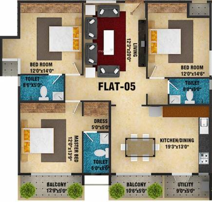DS Skyscape (3BHK+3T (2,047 sq ft) Apartment 2047 sq ft)